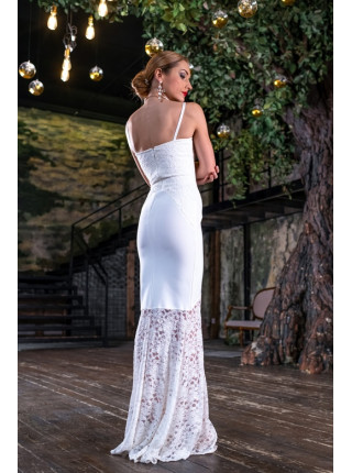 Бандажное платье в пол с гепюром