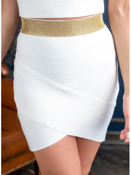 Бандажная юбка с стразами