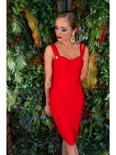 Красное бандажное платье с сверкающими камнями на бюсте