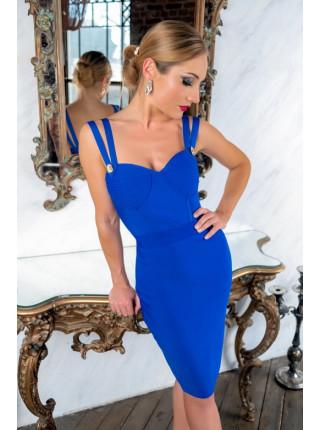 Синее бандажное платье с сверкающими камнями на бюсте