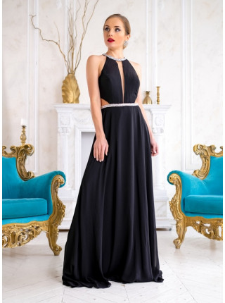 Черное вечернее платье из струящегося шифона