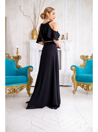 Вечернее платье из шифона с воланами на руках
