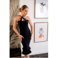 Чёрное бандажное платье с кружевом и воланом