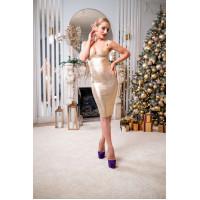 Бандажное золотое платье