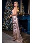 Вечернее платье с полосками золотых пайеток