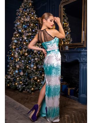 Вечернее платье с градиентом из пайеток