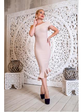 Бандажное ассиметричное платье с воланом