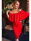 Красное платье с кокетливым воланом