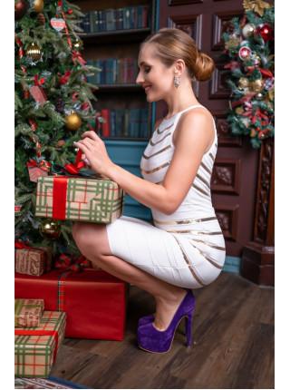 Бандажное платье с полосками из пайеток
