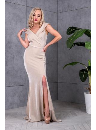 Вечернее сверкающее платье с открытыми плечами