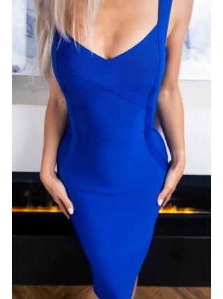 Синее платье бандажное