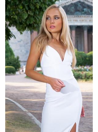 Бандажное платье миди с эффектным разрезом от бедра
