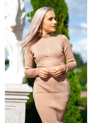 Бандажное платье миди в лапшу