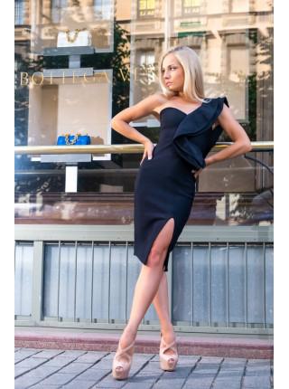 Бандажное платье с воланом на одно плечо черное