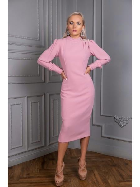 Коктейльное платье длины midi с украшением на плече