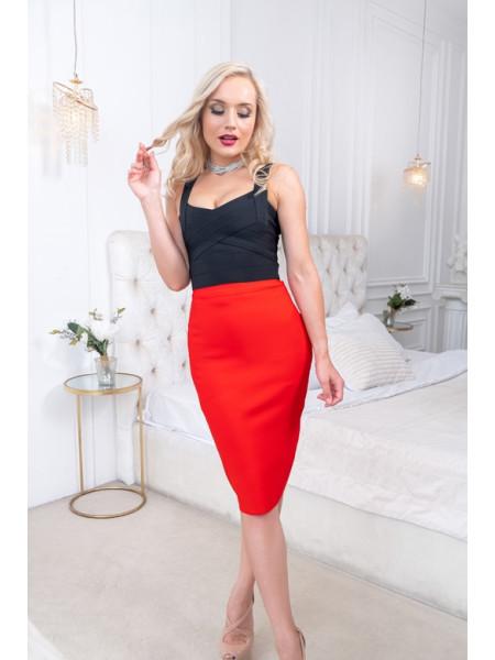 Бандажная гладкая юбка длиной до колена