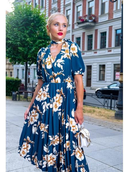 Цветочное платье с юбкой плиссе