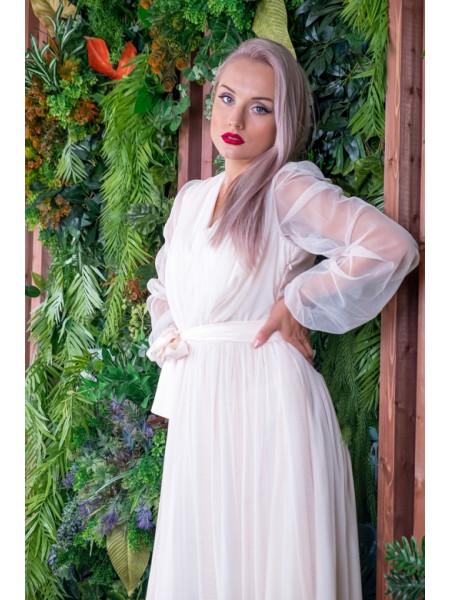 Воздушное платье миди из фатина бежевое