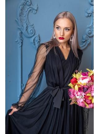 Воздушное платье миди из фатина черное