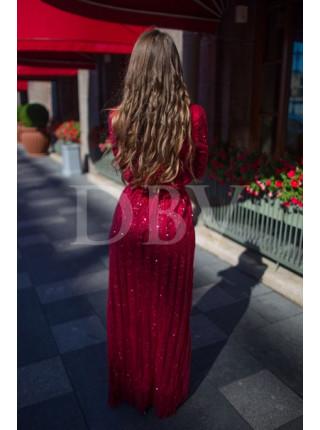 Вечернее платье с сверкающими полосками